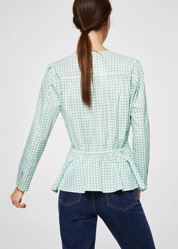 Хлопковая натуральная блузка в клетку манго нежнозеленого цвета - Фото 3