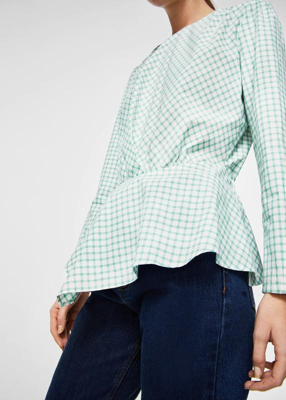Хлопковая натуральная блузка в клетку манго нежнозеленого цвета - Фото 4