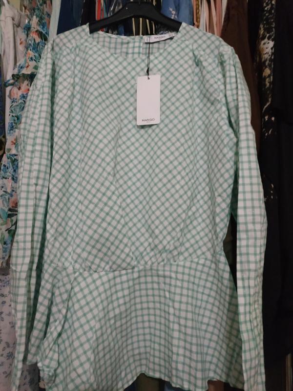 Хлопковая натуральная блузка в клетку манго нежнозеленого цвета - Фото 5