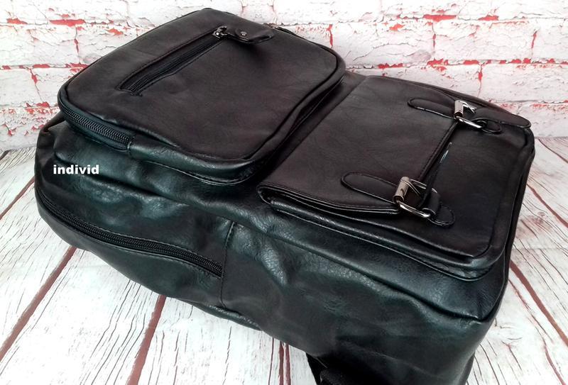 Кожаный рюкзак. мужской портфель. сумка для ноутбука.  сумка д... - Фото 8