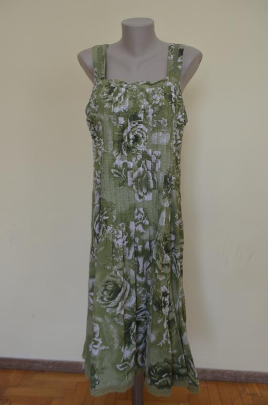 Очень красивое платье-сарафан из хлопка с кружевом - Фото 2