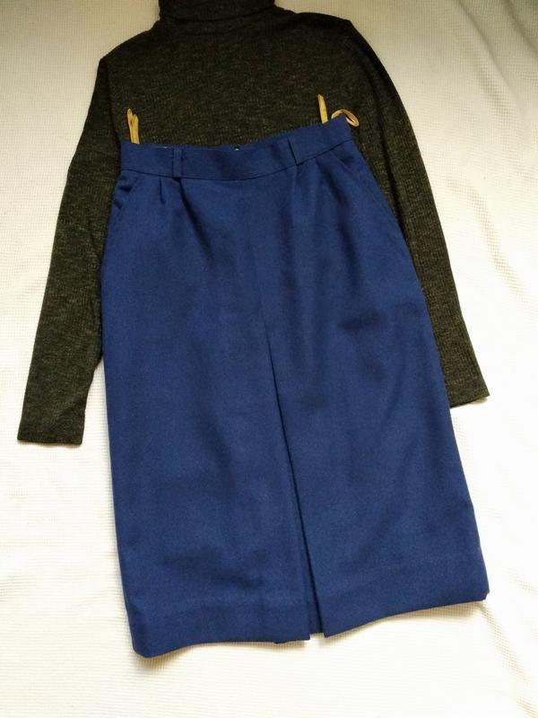 Классическая юбка спідниця миди с встречной складкой и карманами