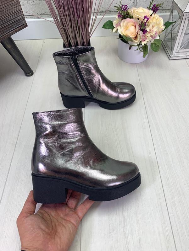 Осень натуральная кожа люксовые ботинки на мега-удобном каблуке