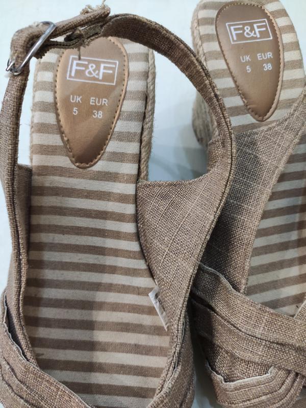 F&f текстильные босоножки на джутовой танкетке, 38 размер - Фото 6