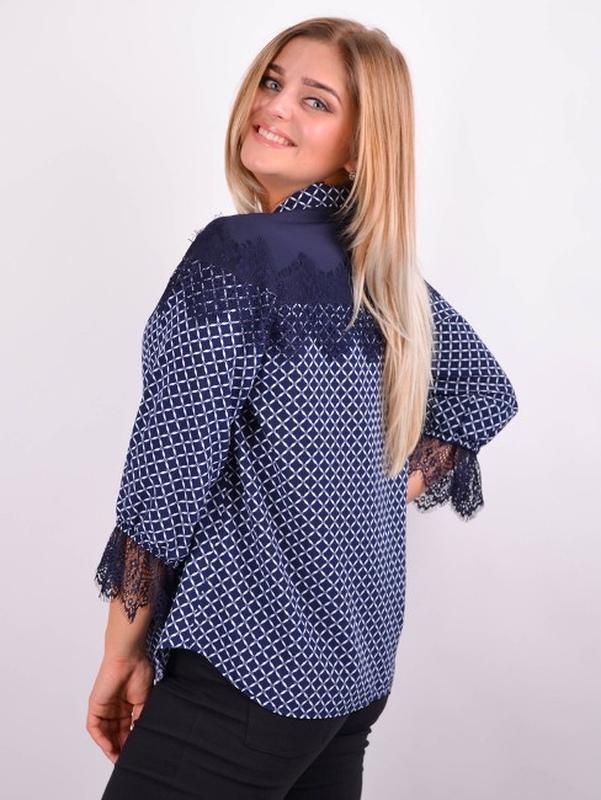 Размеры 50-64! Стильная блуза синяя, большой размер - Фото 3