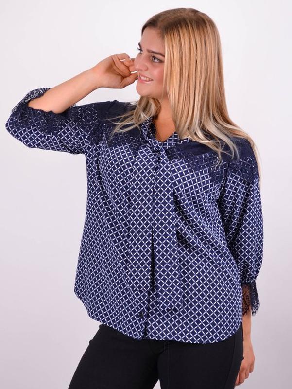 Размеры 50-64! Стильная блуза синяя, большой размер - Фото 2