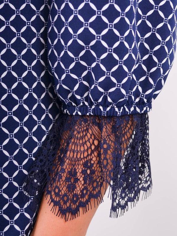 Размеры 50-64! Стильная блуза синяя, большой размер - Фото 4