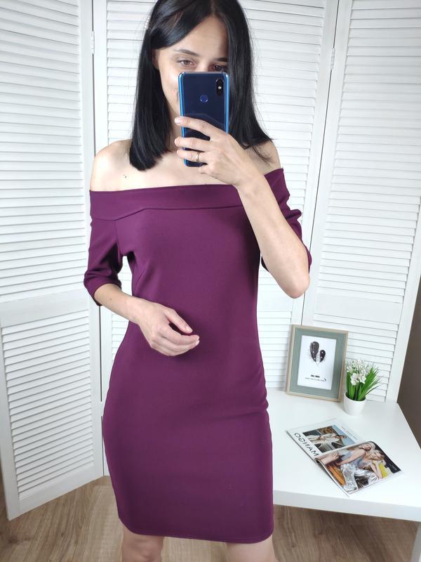Платье на плечи бордовое в рубчик river island, p-p uk 12