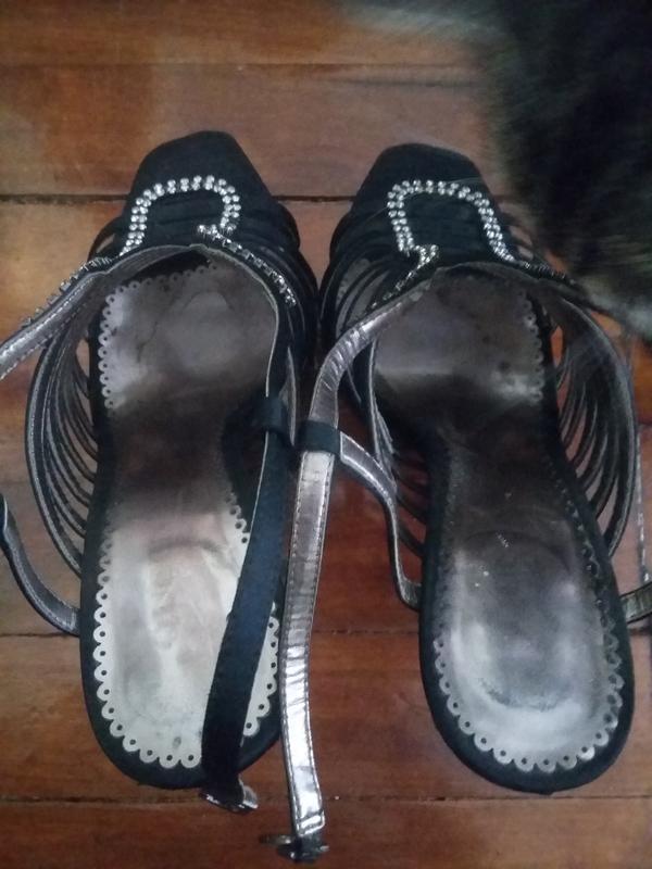 Босоножки черные на шпильке 12см - Фото 5