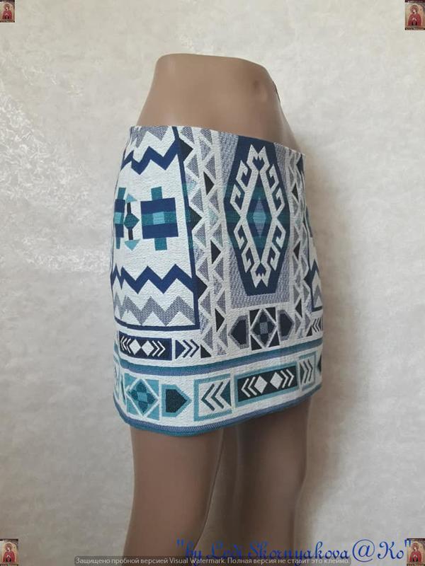 Фирменная h&m офигенная мини юбка в орнамент в етно/бохо стиле... - Фото 3