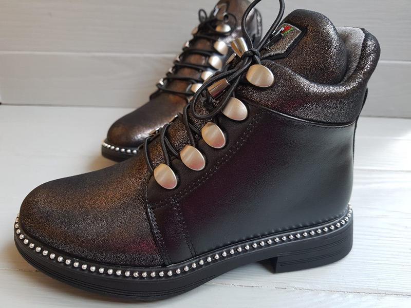 Блестящие легкие утепленные деми ботинки для девочки на флисе ... - Фото 2