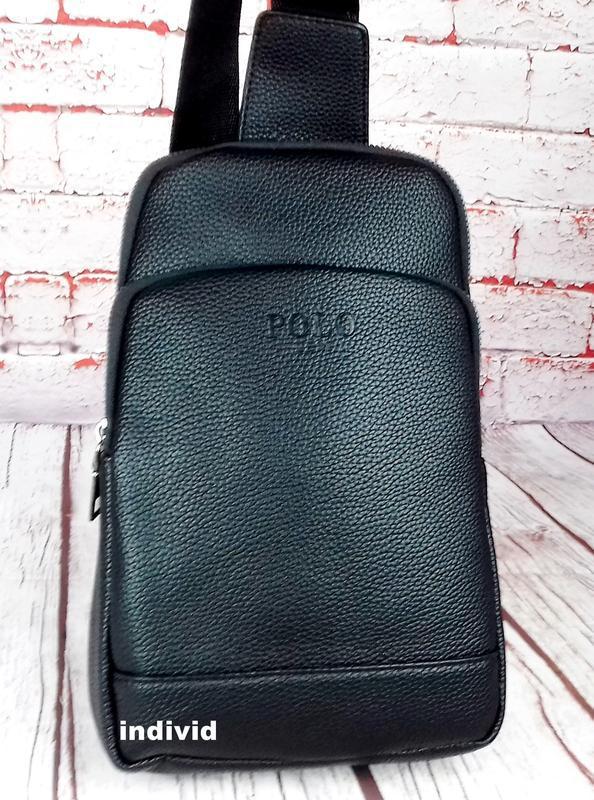 Кожаный рюкзак polo. мужская сумка поло. мужская барсетка. кож...