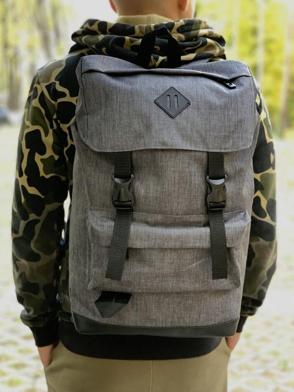 Рюкзак мужской серый, рюкзак для ноутбука - Фото 2