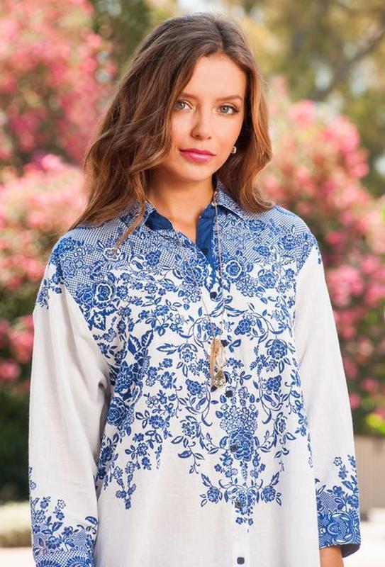 Новинки 2019 пляжная туника рубашка с вышивкой индиано код 1276 - Фото 2