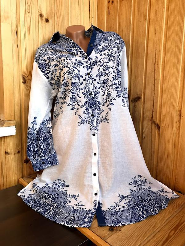 Новинки 2019 пляжная туника рубашка с вышивкой индиано код 1276 - Фото 4