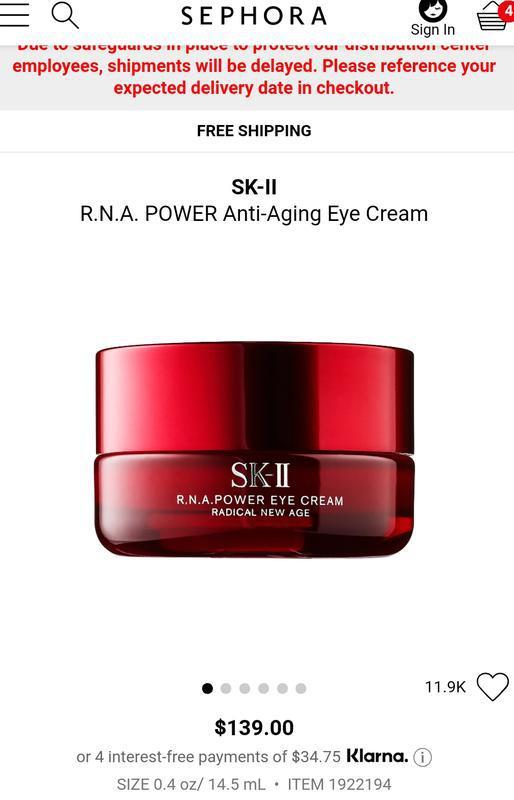 Sk-ii r.n.a.power eye cream омолаживающий крем для кожи вокруг...