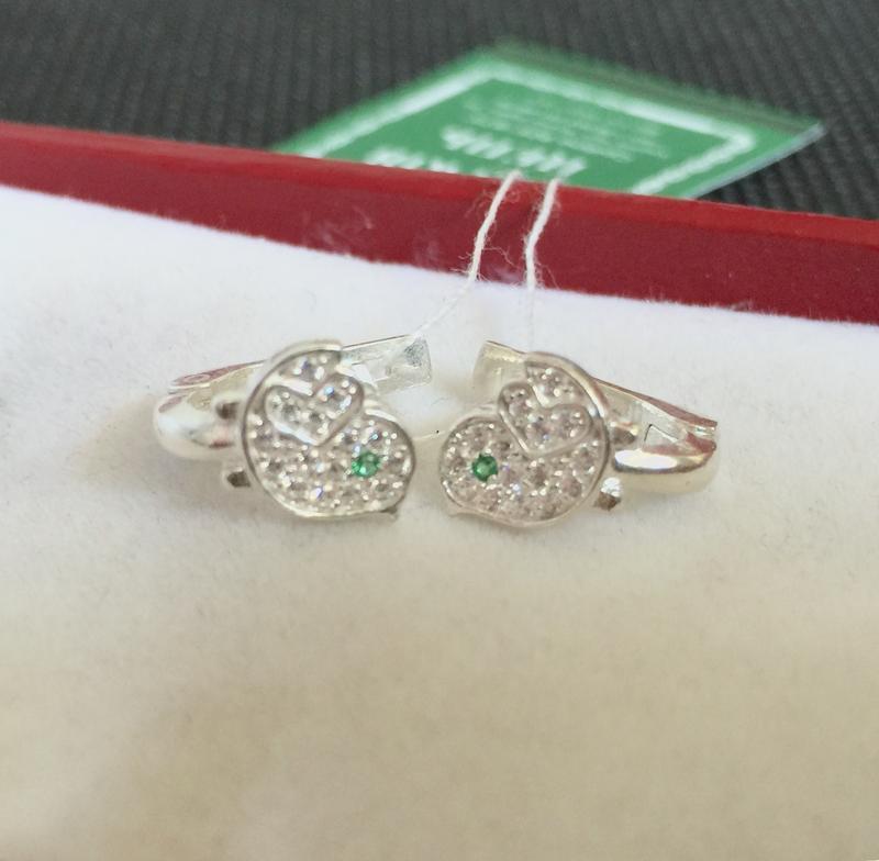 Новые красивые серебряные серьги птенчик куб.цирконий серебро ...