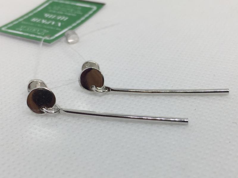 Новые родированые серебряные серьги гвоздики серебро 925 пробы