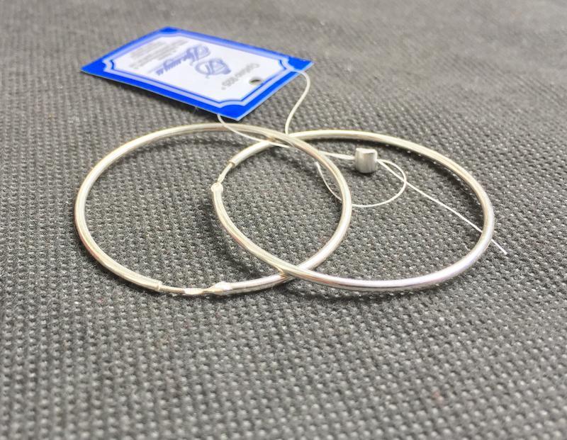 Новые красивые серебряные серьги кольца 42 мм серебро 925 пробы