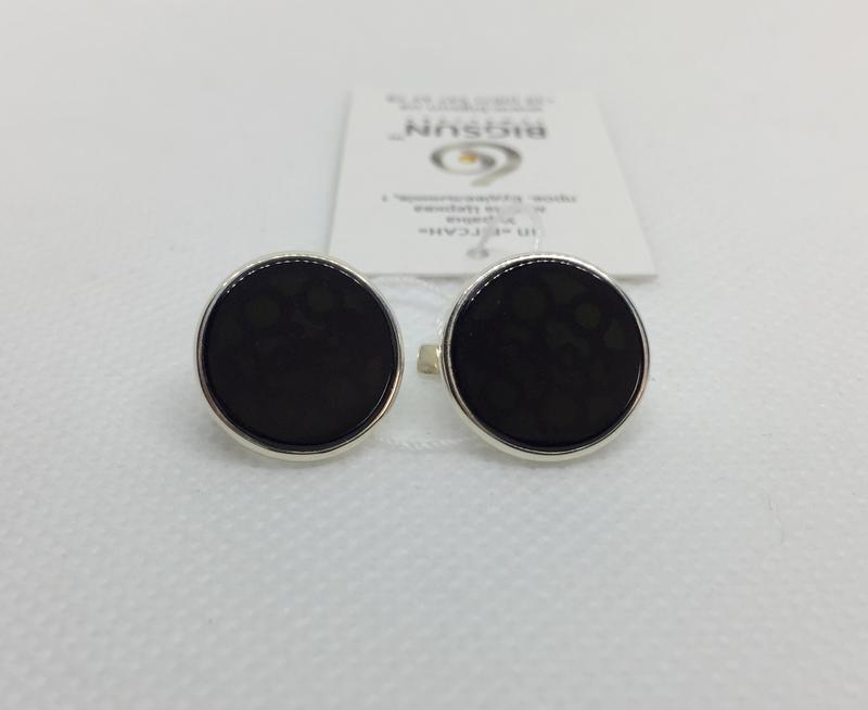 Новые красивые серебряные серьги оникс серебро 875 пробы