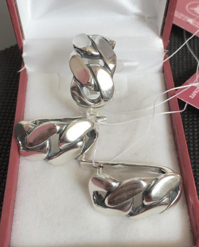 Новый красивый серебряный набор серебро 925 пробы