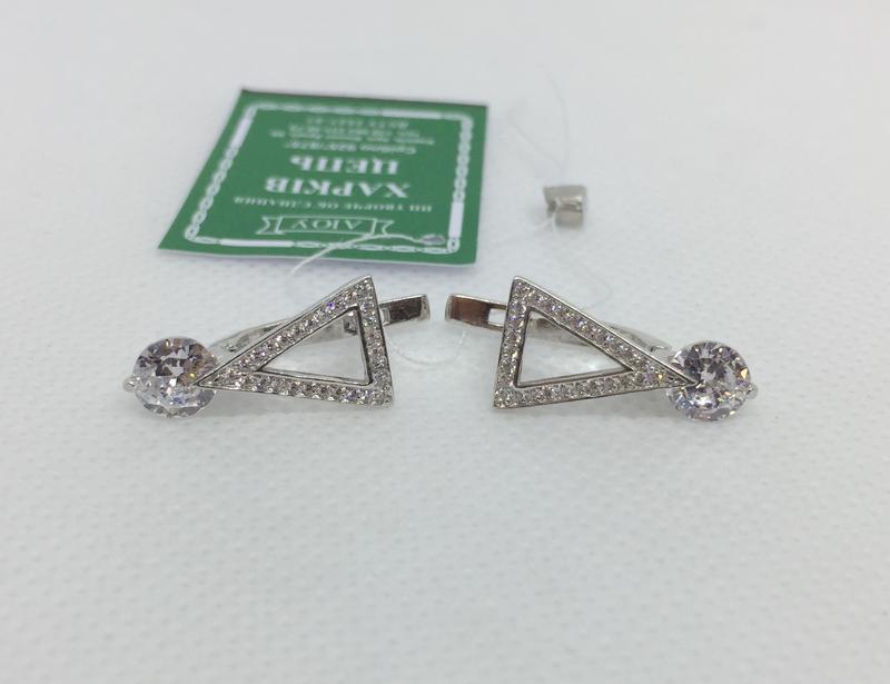 Новые родированые серебряные серьги куб.цирконий серебро 925 п...