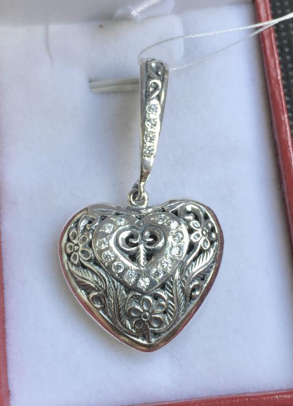 Новый ажурный серебряный подвес сердце чернение серебро 925 пробы