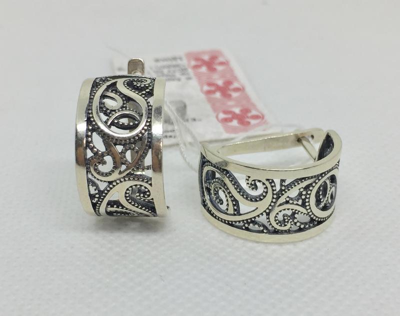 Новые серебряные серьги чернение серебро 925 пробы