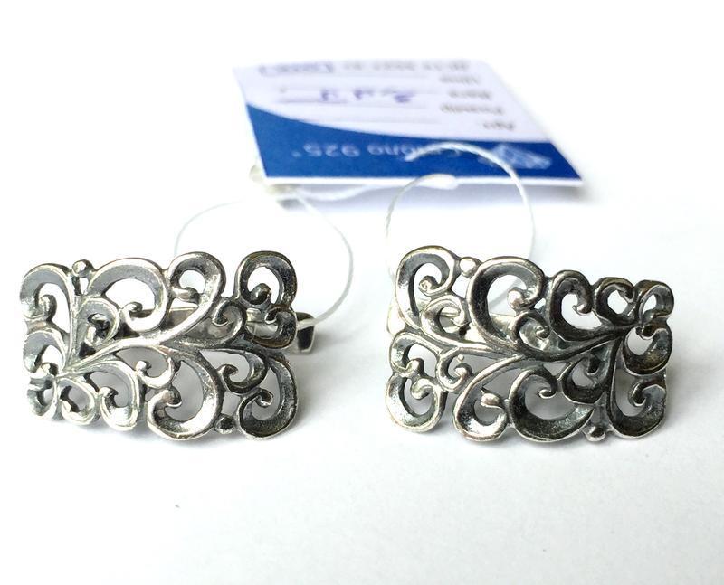 Новые ажурные серебряные серьги серебро 925 пробы