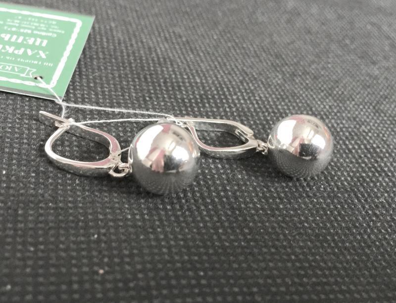 Новые серебряные серьги шарики 12 мм серебро 925 пробы