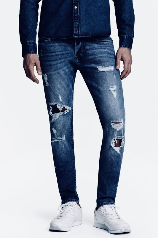 Синие джинсы h&m trashed skinny , low waist !