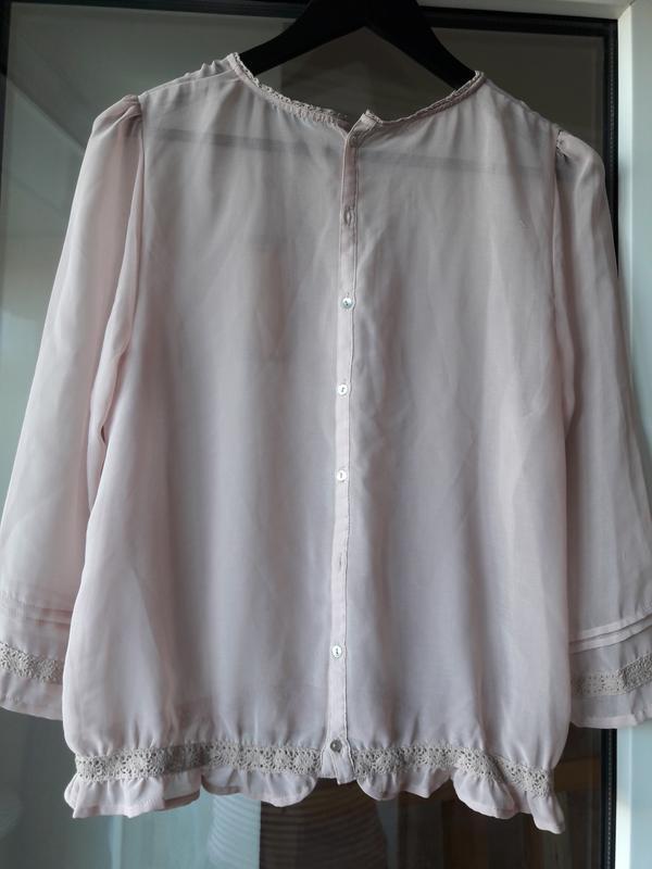 Воздушная блузка цвета нюд - Фото 3