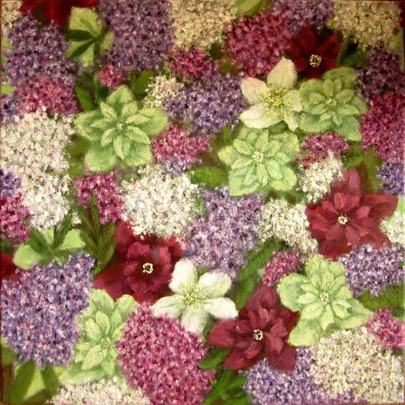 Картина маслом на холсте Цветущие морозники 40х40
