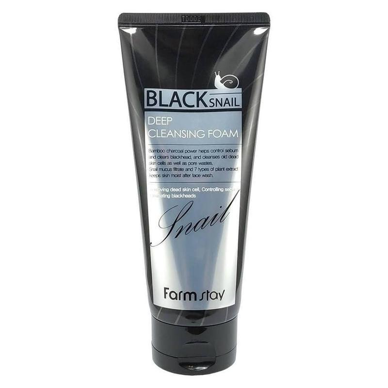 Глубоко очищающая пенка с муцином черной улитки farmstay black sn