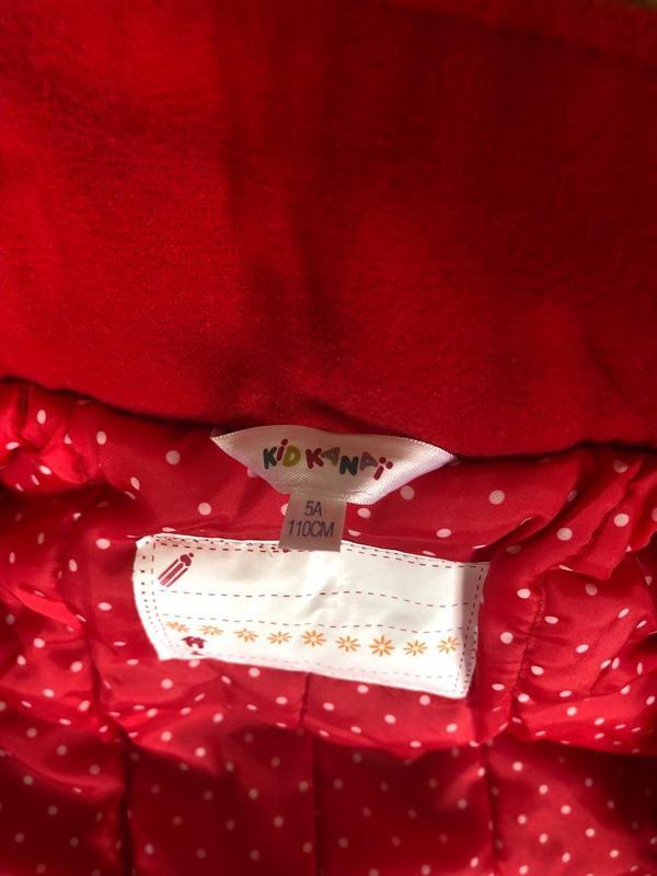 Красное Детское Пальто для Девочек (Kid Kanai) - Фото 4