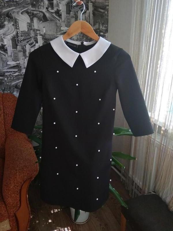 Платье чёрное с белыми бусинками - Фото 2