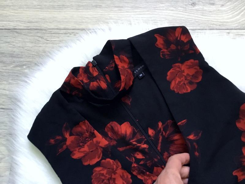 Платье с чекером в цветы - Фото 4