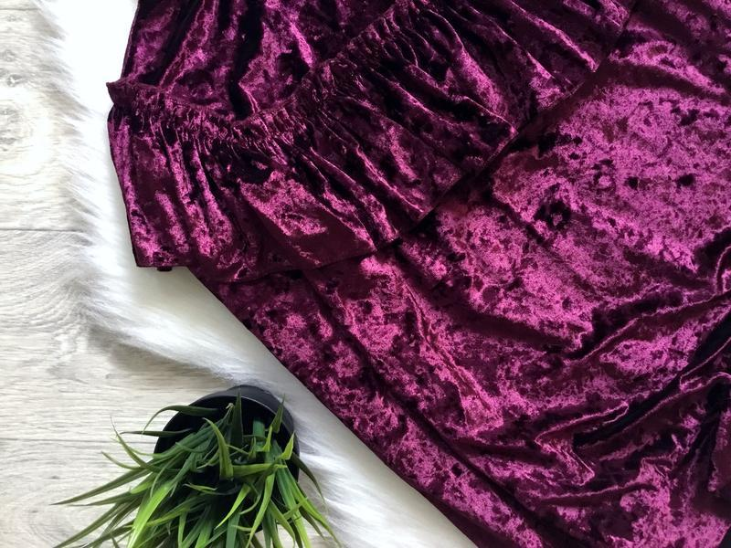 Бархатный свитшот цвета марсала с рюшами в зоне декольте - Фото 3