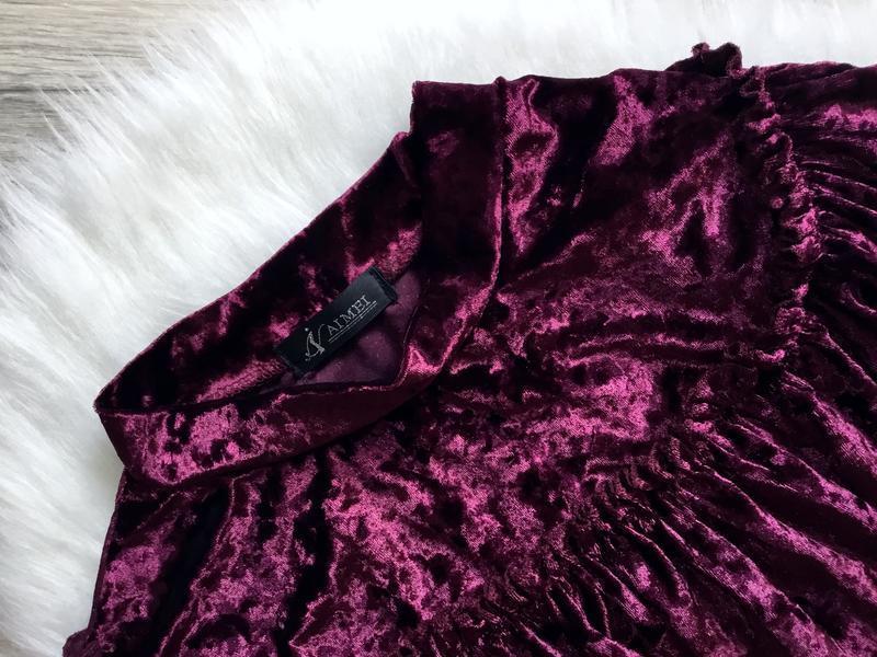 Бархатный свитшот цвета марсала с рюшами в зоне декольте - Фото 5