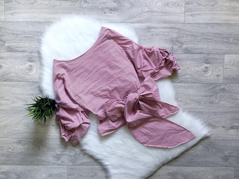Рубашка в полоску с обьемными рукавами и  с поясом от zara