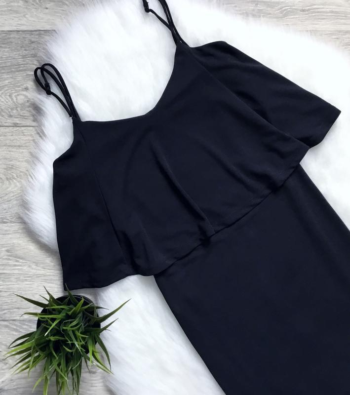 Платье миди с воланом в зоне декольте - Фото 2