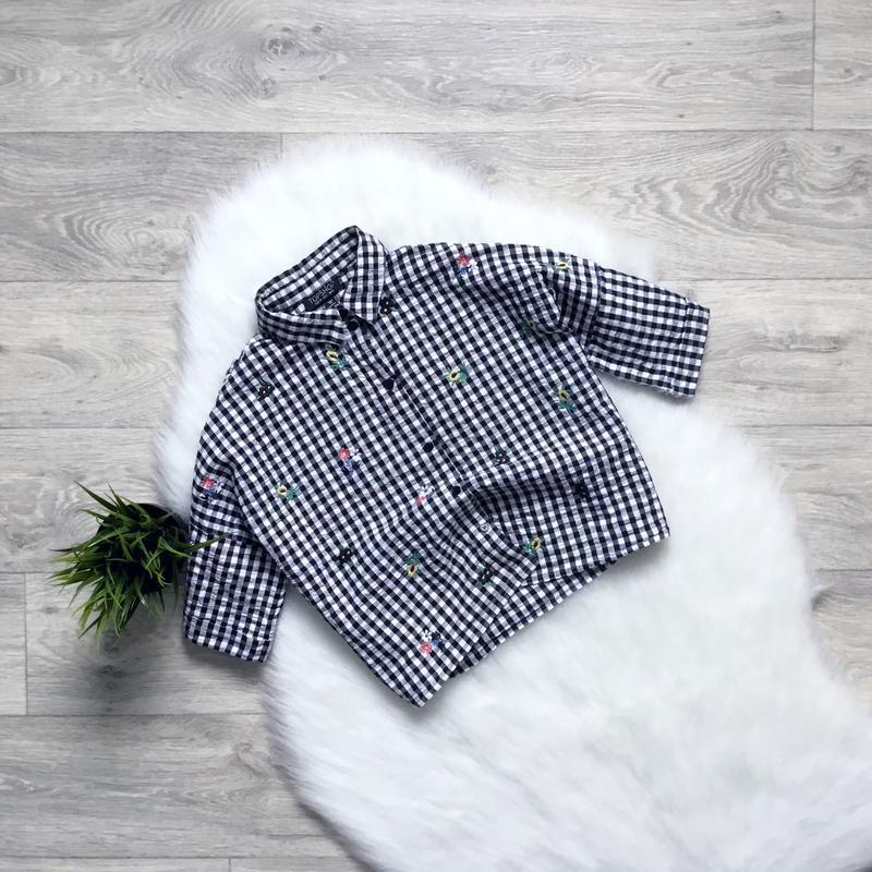 Укороченная рубашка бойфренд с вышивкой