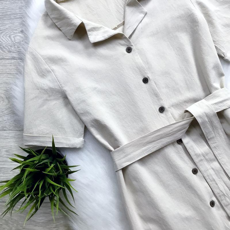 Платье -рубашка с поясом - Фото 2