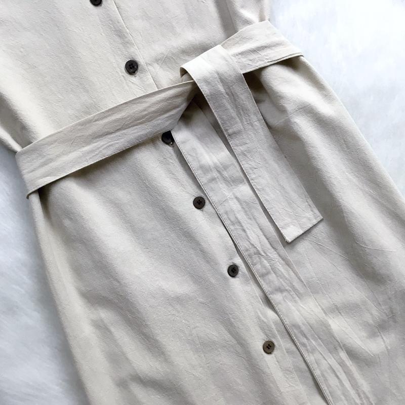 Платье -рубашка с поясом - Фото 3