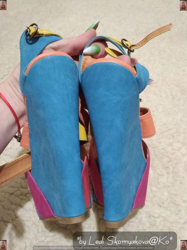 Фирменные rainbow collection босоножки на высокой платформе,цв... - Фото 3