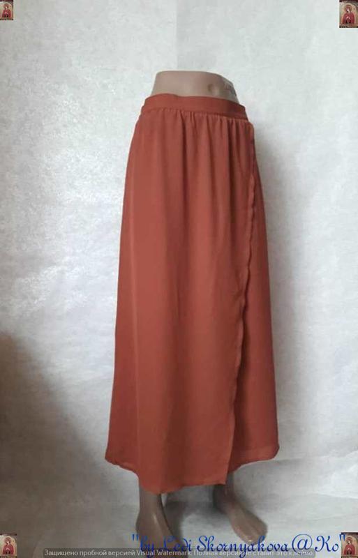 Фирменная rainbow collection юбка в пол кирпичного цвета на за... - Фото 3