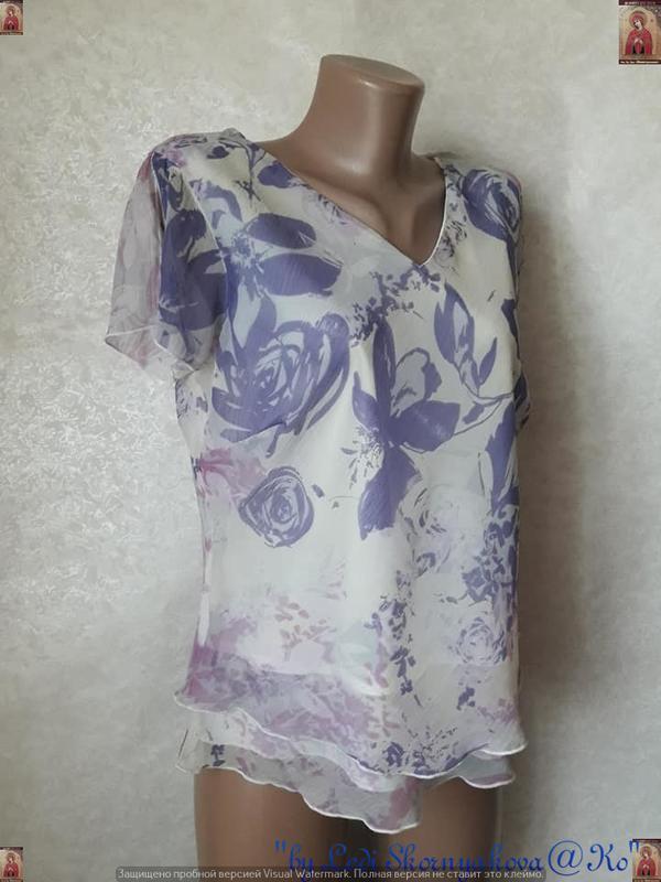 Новая красивая блуза в нежном сиреневом цвете с цветочном прин... - Фото 3