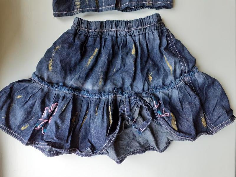 Джинсовый комплект набор ламбада юбка и жилетка топ - Фото 4
