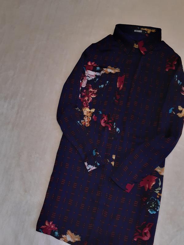 Лёгкая длинная рубашка,туника,короткое платье шифон принт цвет...
