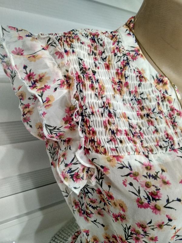 Блуза в квіточки під пояс - Фото 2